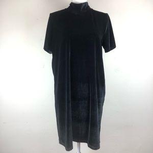 Madewell Velvet Black Stretch Shift Dress Size Lg